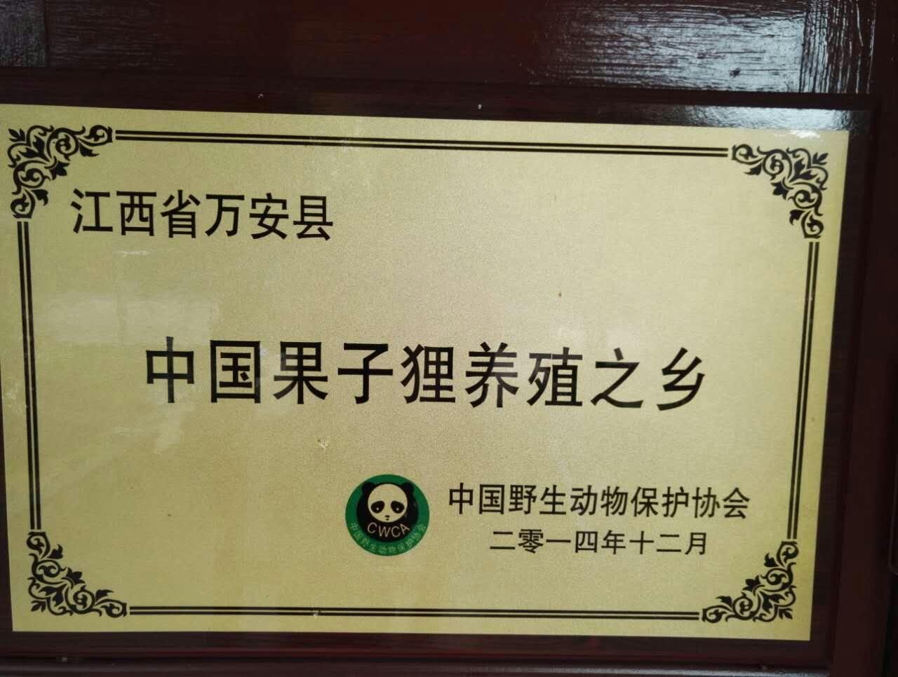 中国野生动物保护协会证书