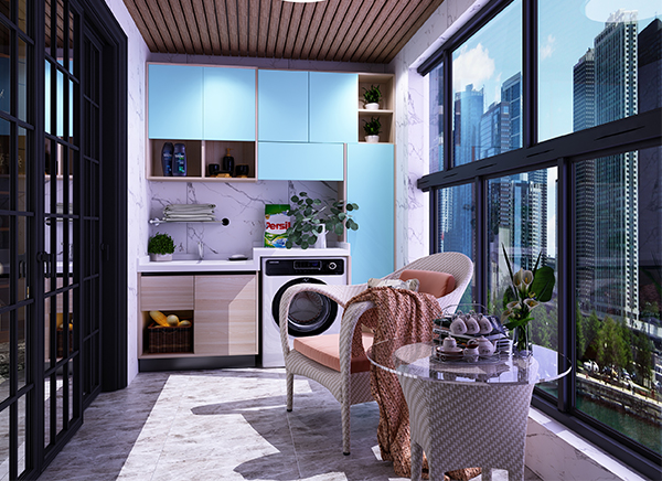 全铝阳台洗衣柜组合