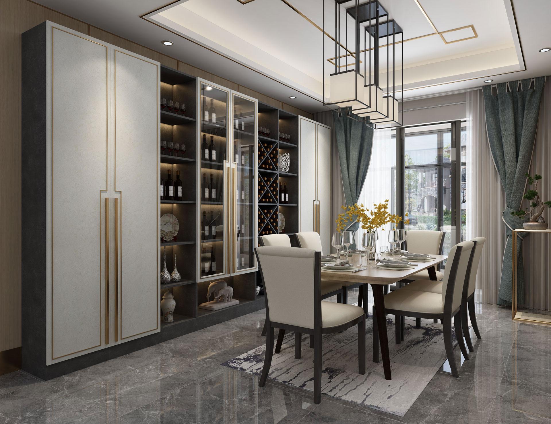 新中式全铝餐厅柜