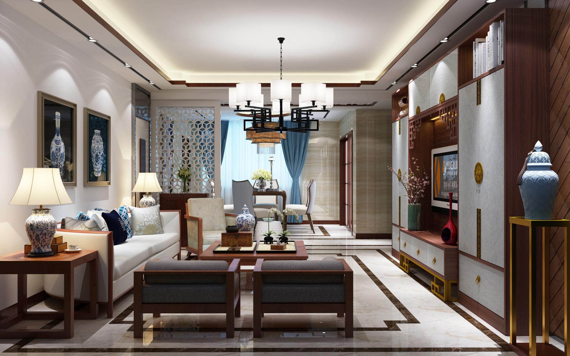 全铝新中式客厅空间