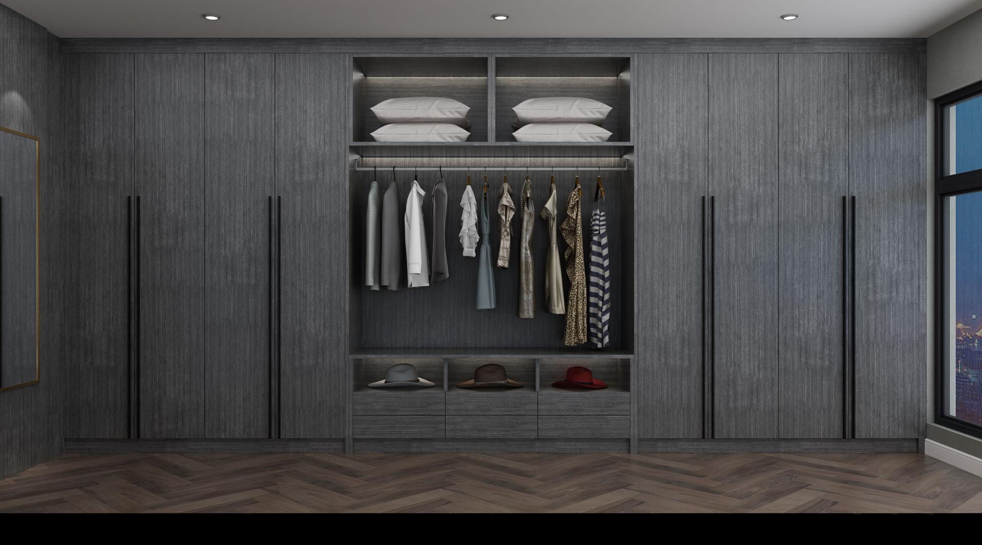 全铝极简轻奢衣帽间衣柜