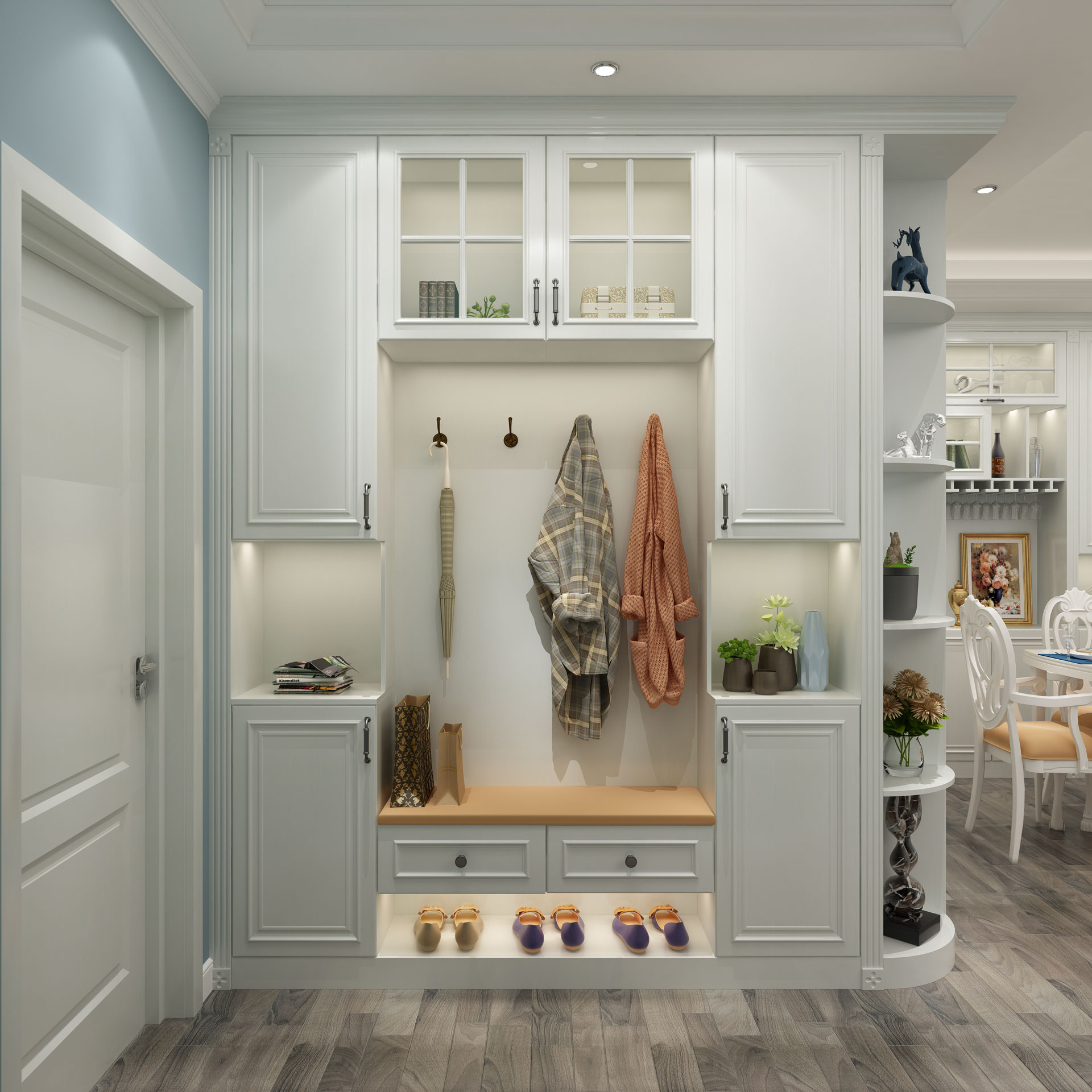 全铝简欧鞋柜厅柜