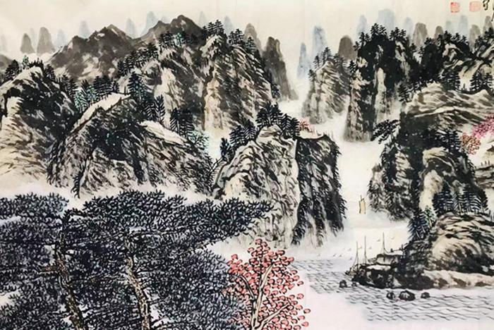 王鸿雁八平尺画作《大宁河畔春色晚》