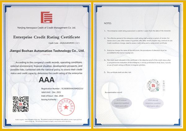 企业信用等级证书-英