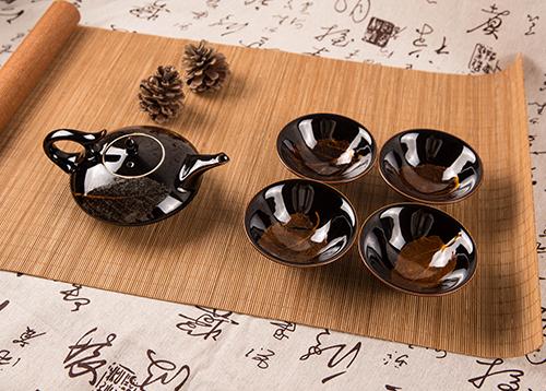 木叶天目茶具竹盒
