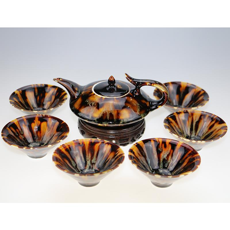 玳瑁釉茶具