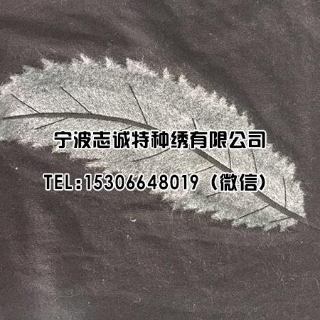 植绒绣羽毛图案