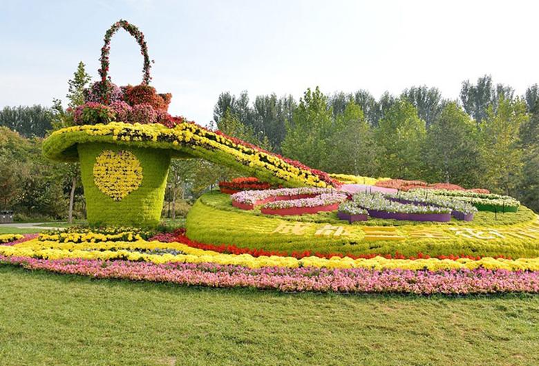 立体花坛绿雕