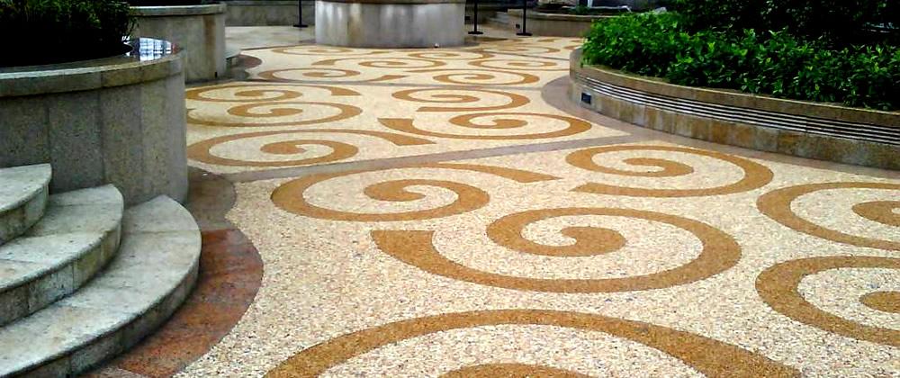 彩色混凝土胶粘石地坪