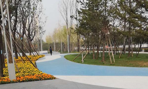 西咸新区小区道路彩色透水性混凝土地坪