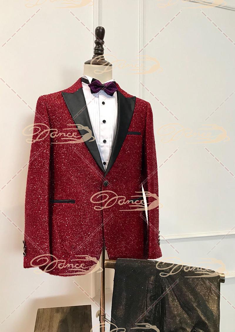 红色男士主持人礼服出租