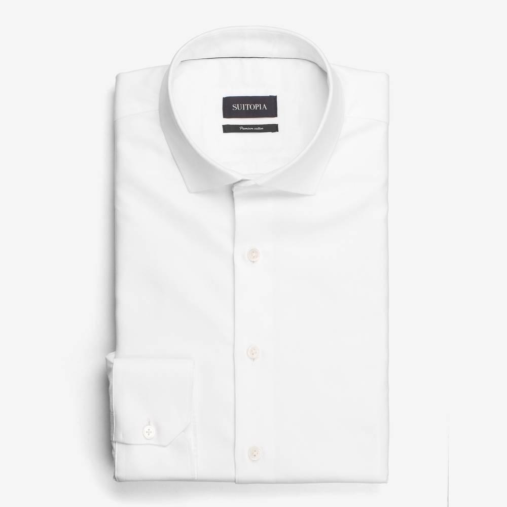 EADEN白色鱼骨斜纹衬衫