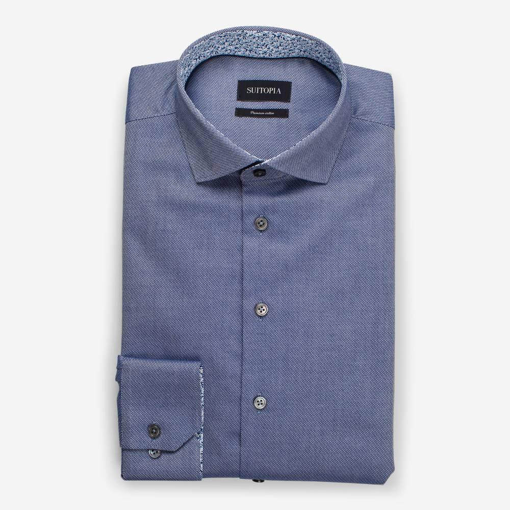 FALLON深蓝色结构编织衬衫