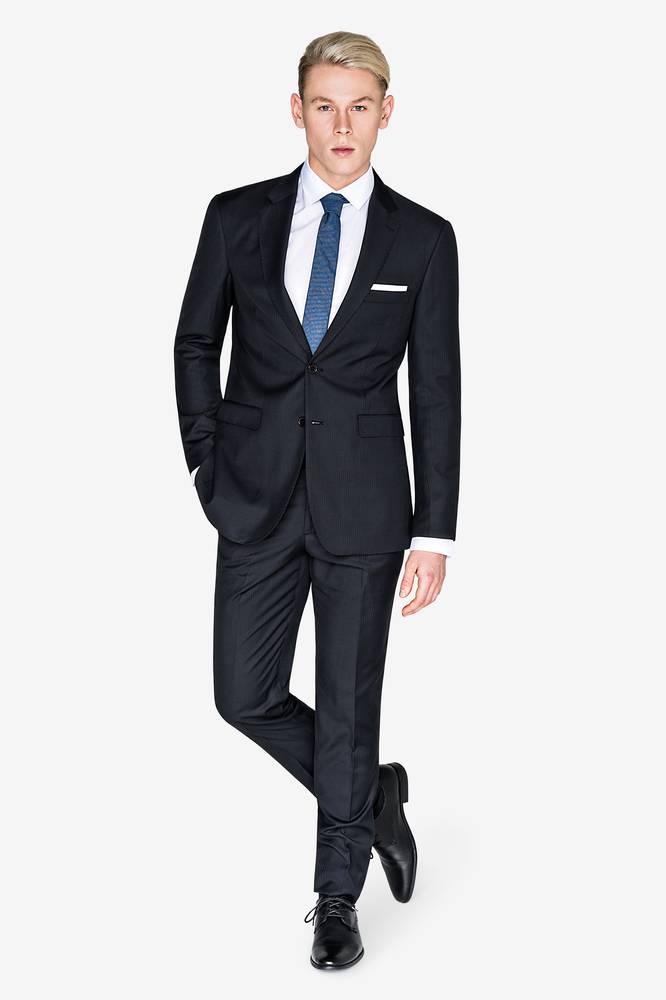 爱德华海军蓝色-灰色条纹西装