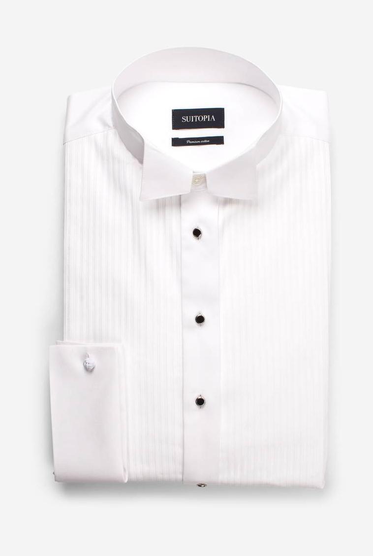 兰斯白色褶裥礼服衬衫