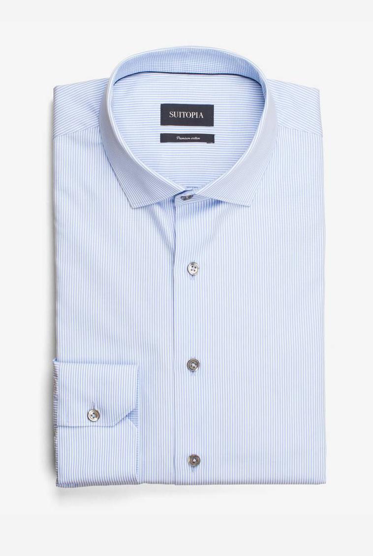 米尔顿浅蓝色微条纹衬衫