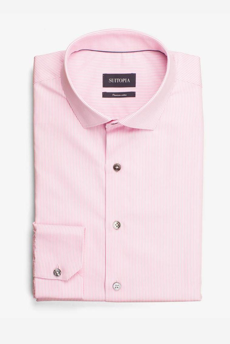米尔顿粉红色微条纹衬衫