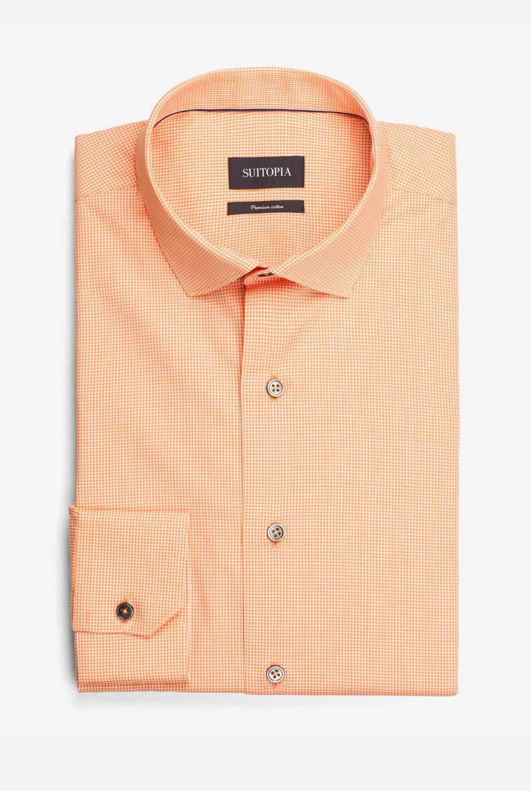 美世橙色微型衬衫