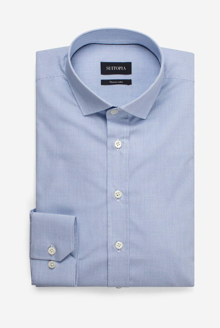 加布浅蓝色微格衬衫