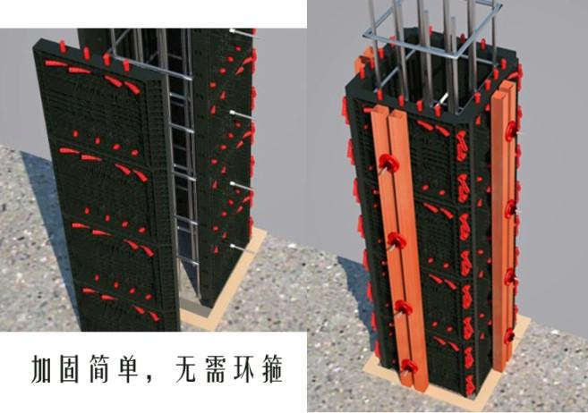 易安特柱模板拼裝及加固三維示意圖