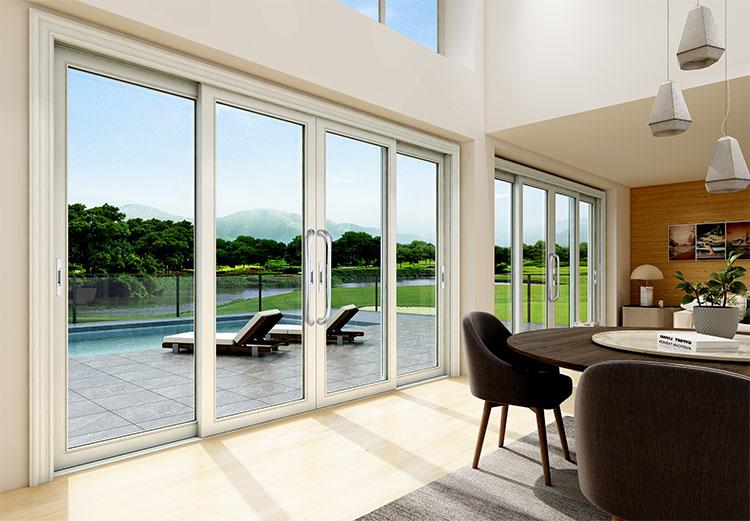 推拉门安装的位置不同,门窗材料也有差异