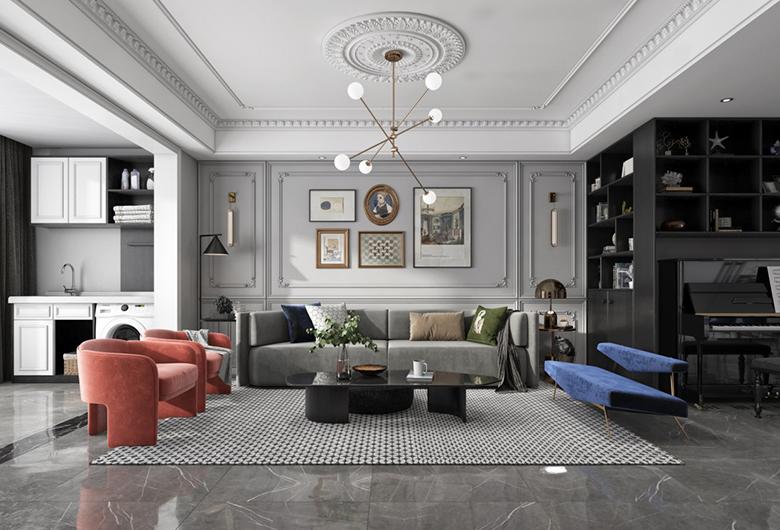 硚口区-中建御景星城   美式风格  103平方米  三居室