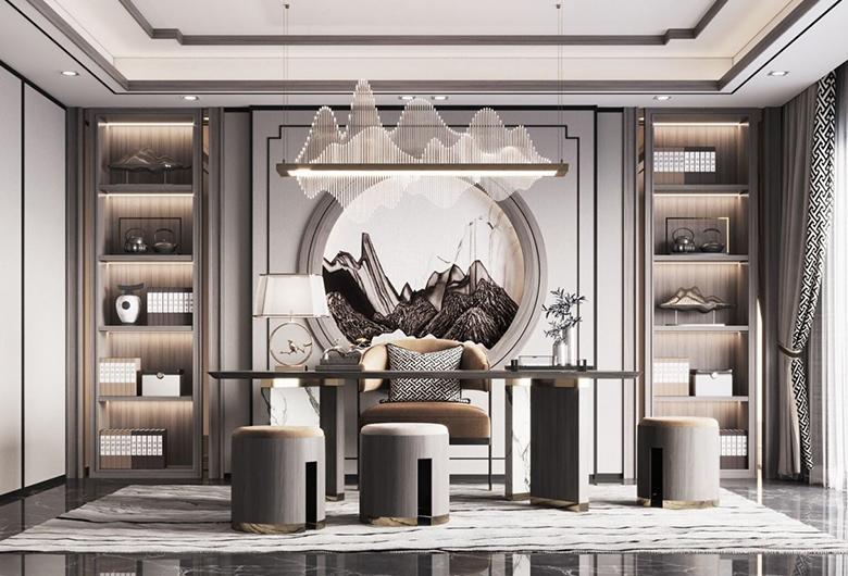 硚口区-华润翡翠城  新中式风格  127平方米  三居室