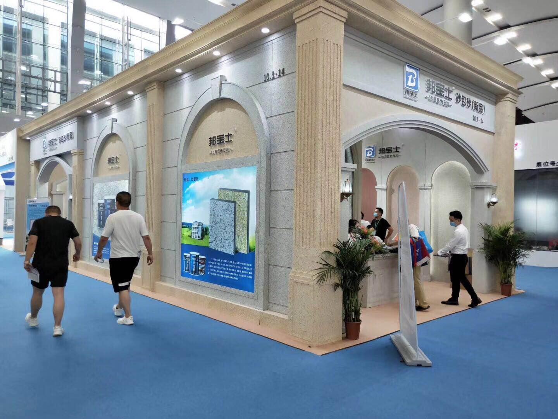 广州建材展台搭建现场,提供环保建筑展台整体解决方案