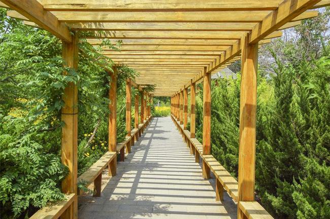 南阳公园防腐木廊架