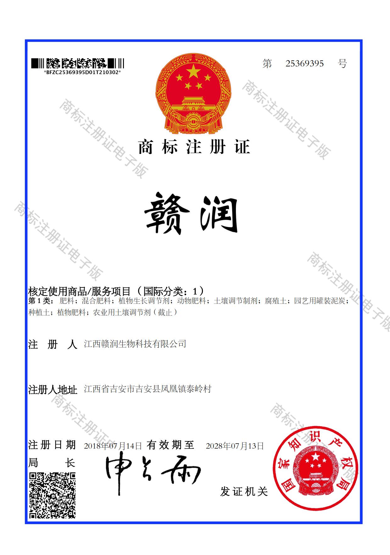 赣润商标注册证