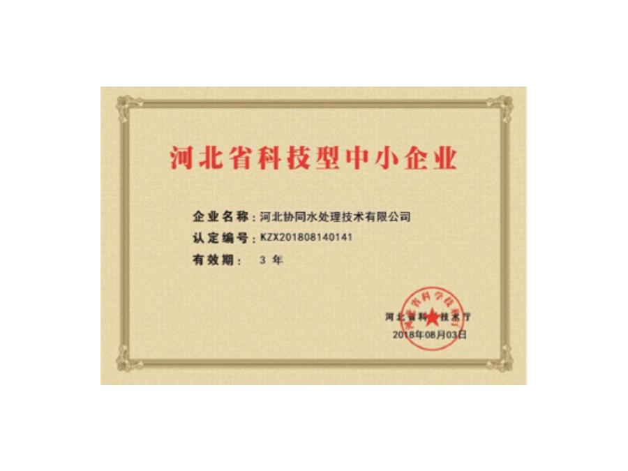协同水处理-科技企业证书