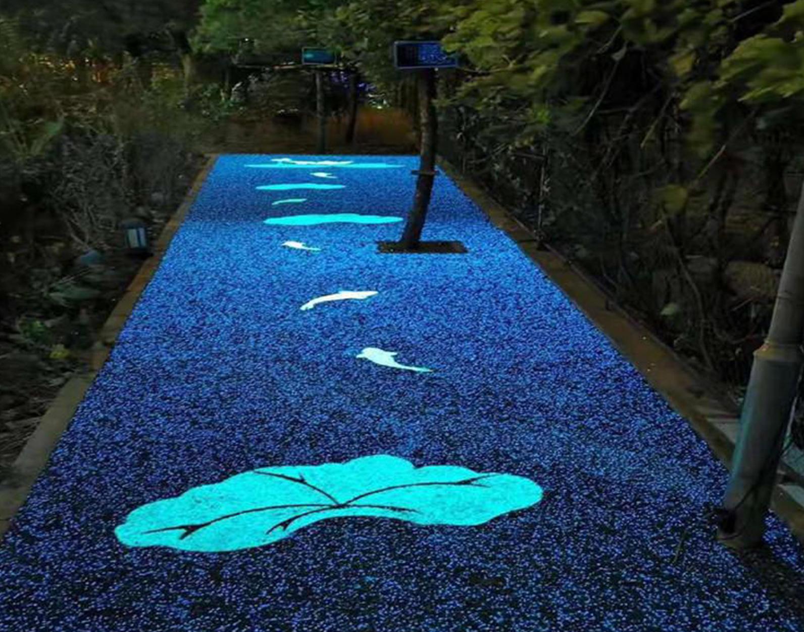 夜光透水膠粘石路面