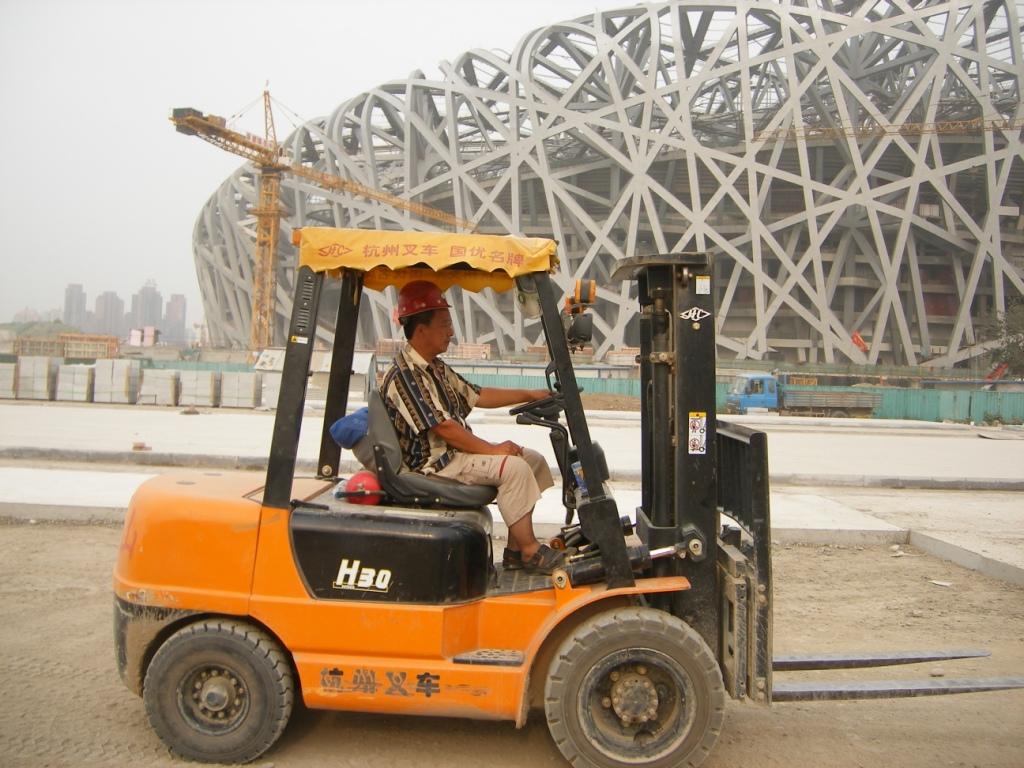杭州叉车在北京鸟巢建设中