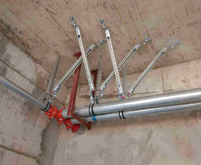 单管双吊侧纵向抗震支架