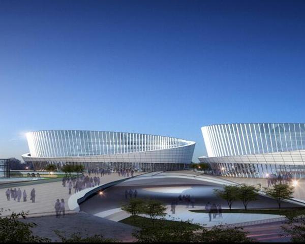 铝单板游泳馆建筑效果图