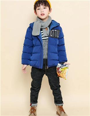 囧小孩蓝色加厚时尚外套