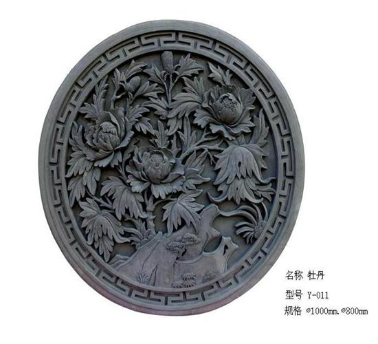 1.8米牡丹圆形砖雕