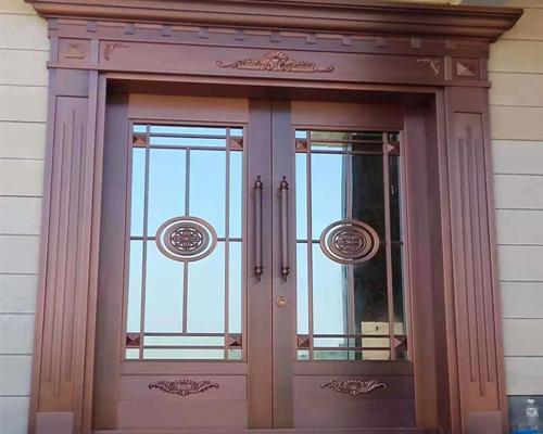玻璃纯铜门