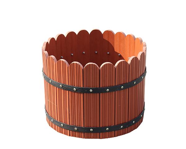圆筒木塑花箱
