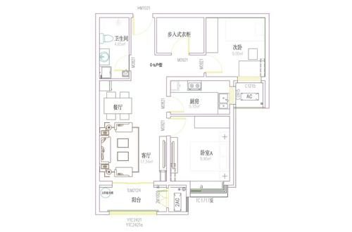 87㎡两室两厅一卫-
