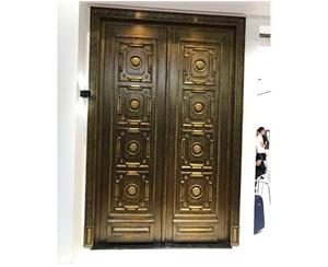 双开浮雕花纹铜门
