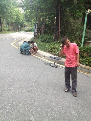 东莞骏兴给广州市恒大绿洲小区做检漏维修工作