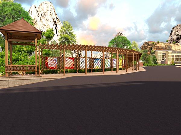 户外塑木廊架