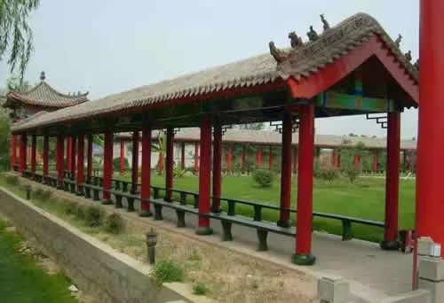 西安三桥武警后勤基地仿古长廊、仿古门楼建设
