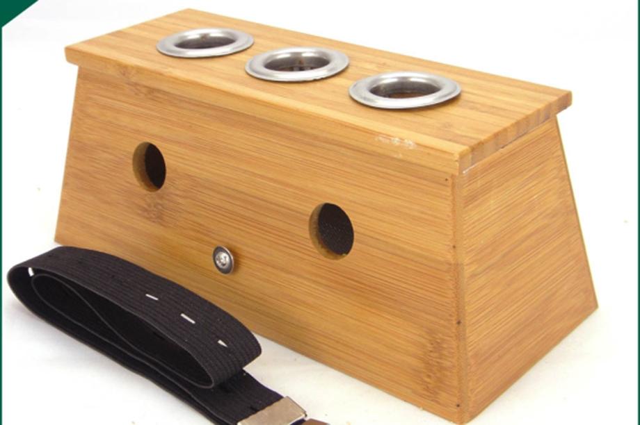 实木三孔炙盒