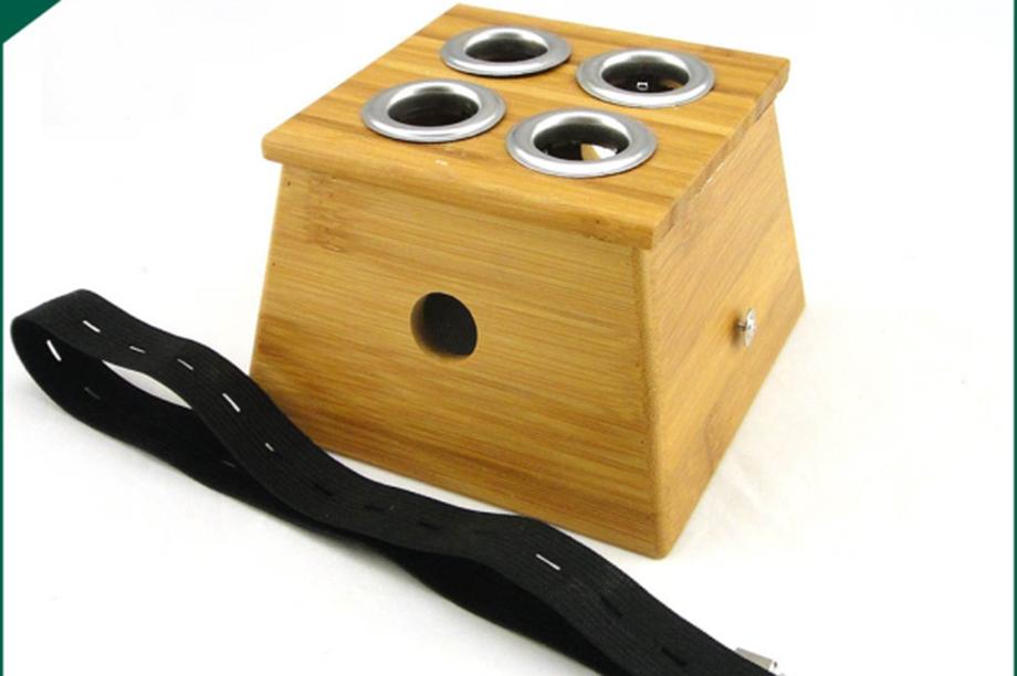 实木四孔炙盒正方形