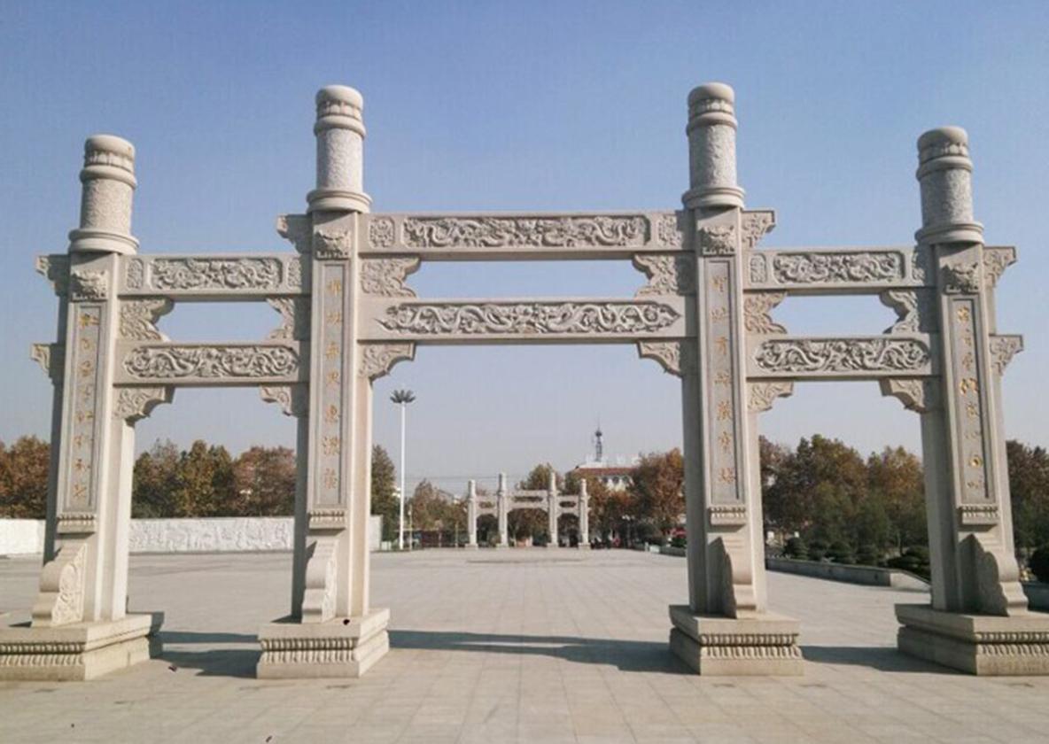 河南农村石雕牌坊雕刻