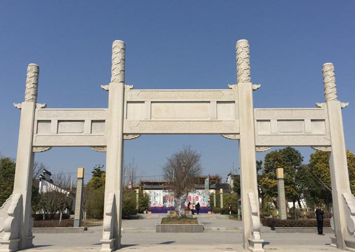 三门五楼石雕牌坊雕刻