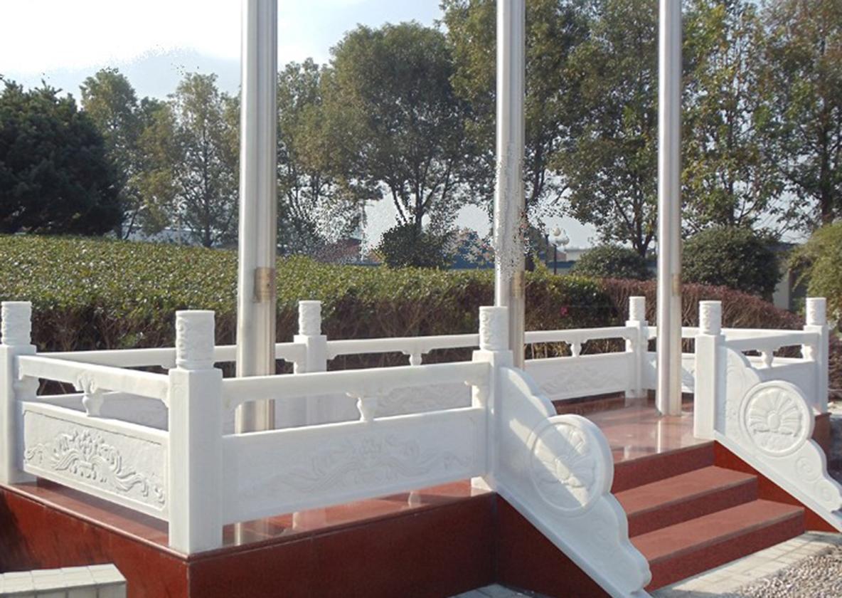 汉白玉旗台栏杆施工