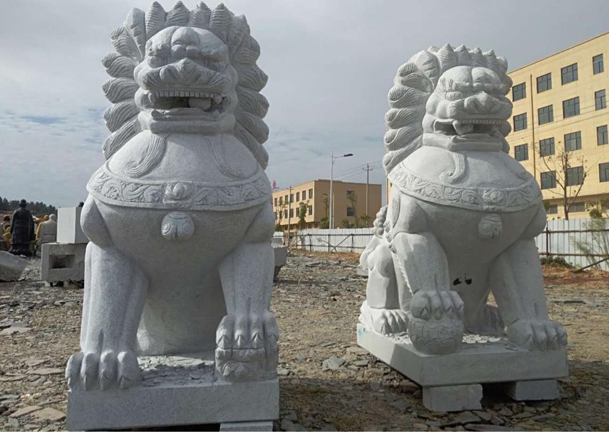 河南雕塑石狮子施工